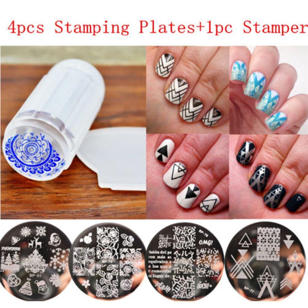 DIY Nail Art Stamping Plate Stamper Scraper Template Image Tool ...