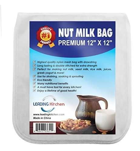 Large Nut Milk Bag - Best 12X12 Reusable Bag - For Organic Almond Milk and Juice