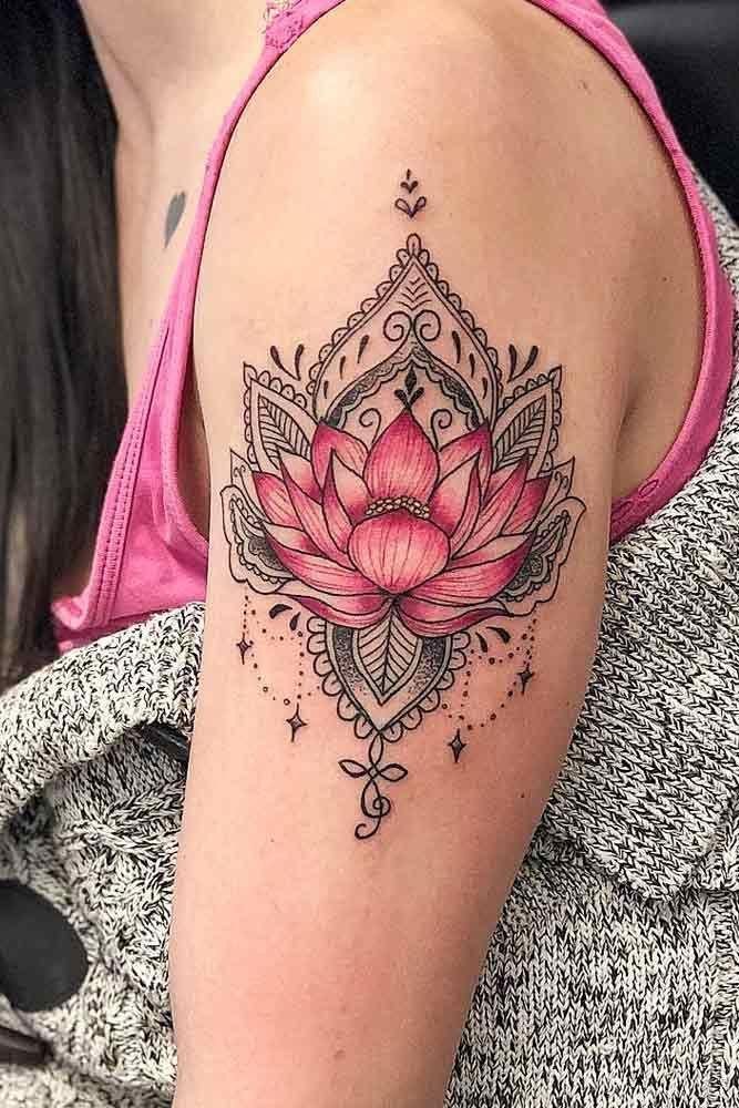 , Mandala Tattoo With Pink Lotus Flower #armtattoo #flowertattoos #carnation flower tattoos #delicate flower tattoos #flower, My Tattoo Blog 2020, My Tattoo Blog 2020