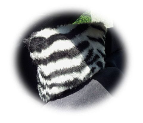 Zebra Black White Stripe Animal Print Faux Fur Furry Fluffy Fuzzy Car Seat Headrest Covers 1 Pair Stripey