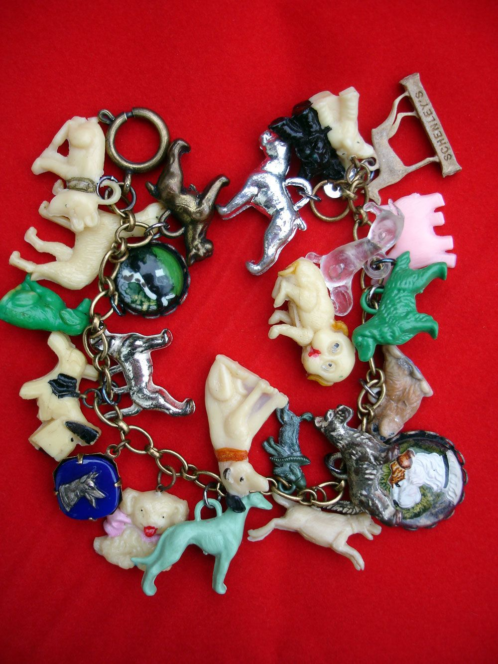 Vintage Dogs Charm Bracelet With Running Dog Jewels