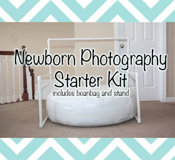 Newborn photography starter kit includes backdrop stand and baby beanbag great for on