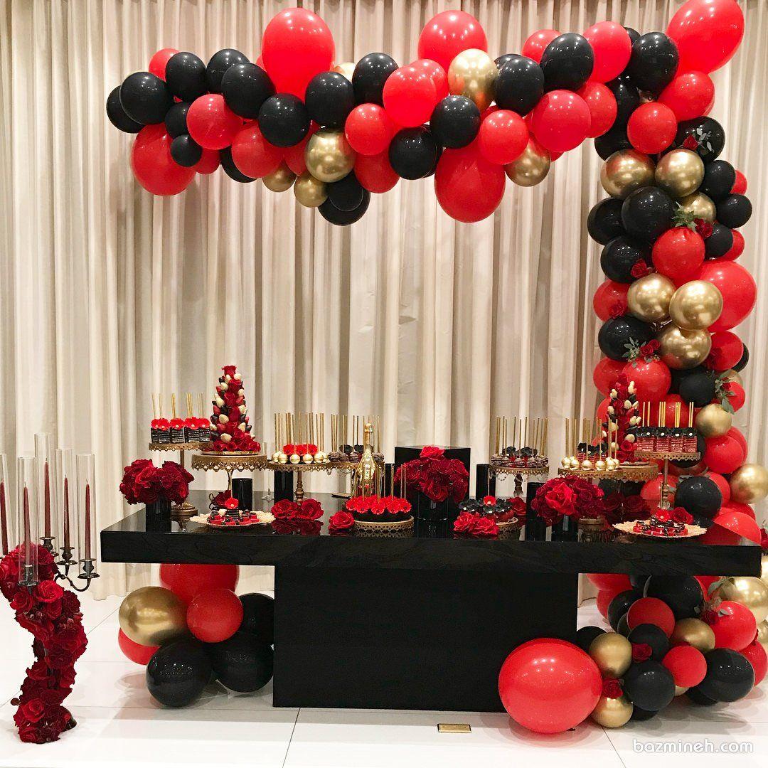 دکوراسیون و بادکنک آرایی شیک جشن تولد بزرگسال با تم قرمز مشکی طلایی همراه با گل آرایی گل های ر Red Birthday Party Red Party Decorations Black Party Decorations