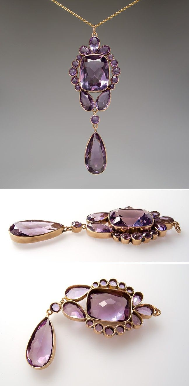 Antique bezel set amethyst pendant k gold features bezel set