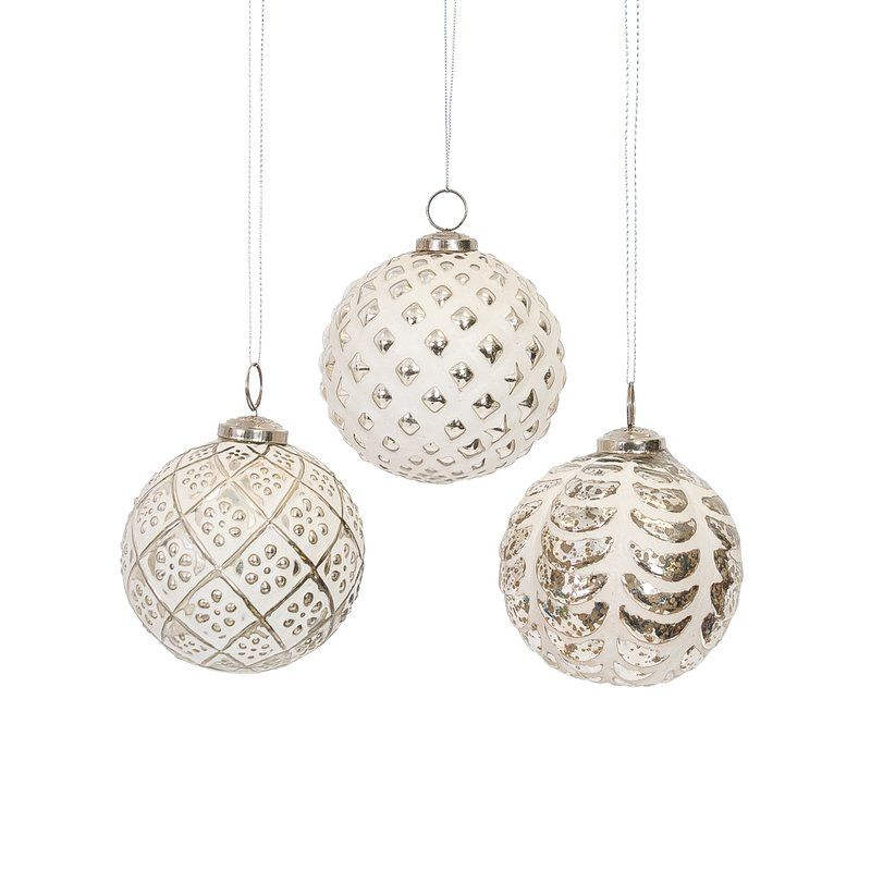 With A Stunning Silver And White Design The 3 Piece Ornament Assortment Set Brings Scottish Inspired Look To Your Holiday Decor