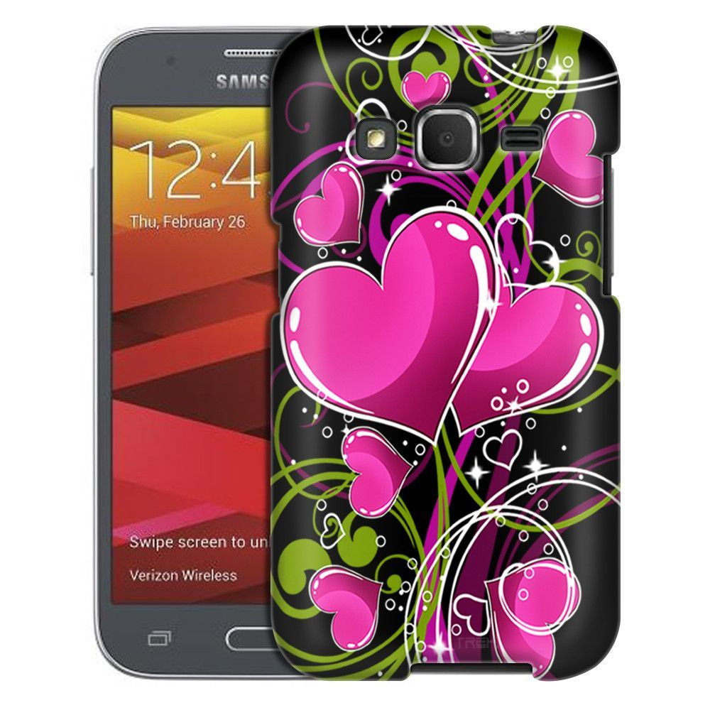 Samsung Galaxy Prevail LTE Hot Pink Hearts on Black Case