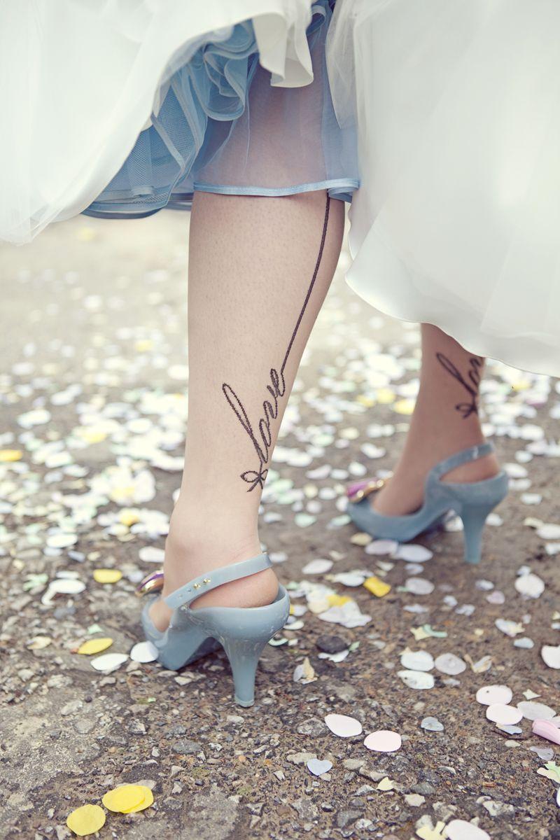 50s wedding decoration ideas  Awesome leg tattoo for a bride  ideas we like  seventysixdesign