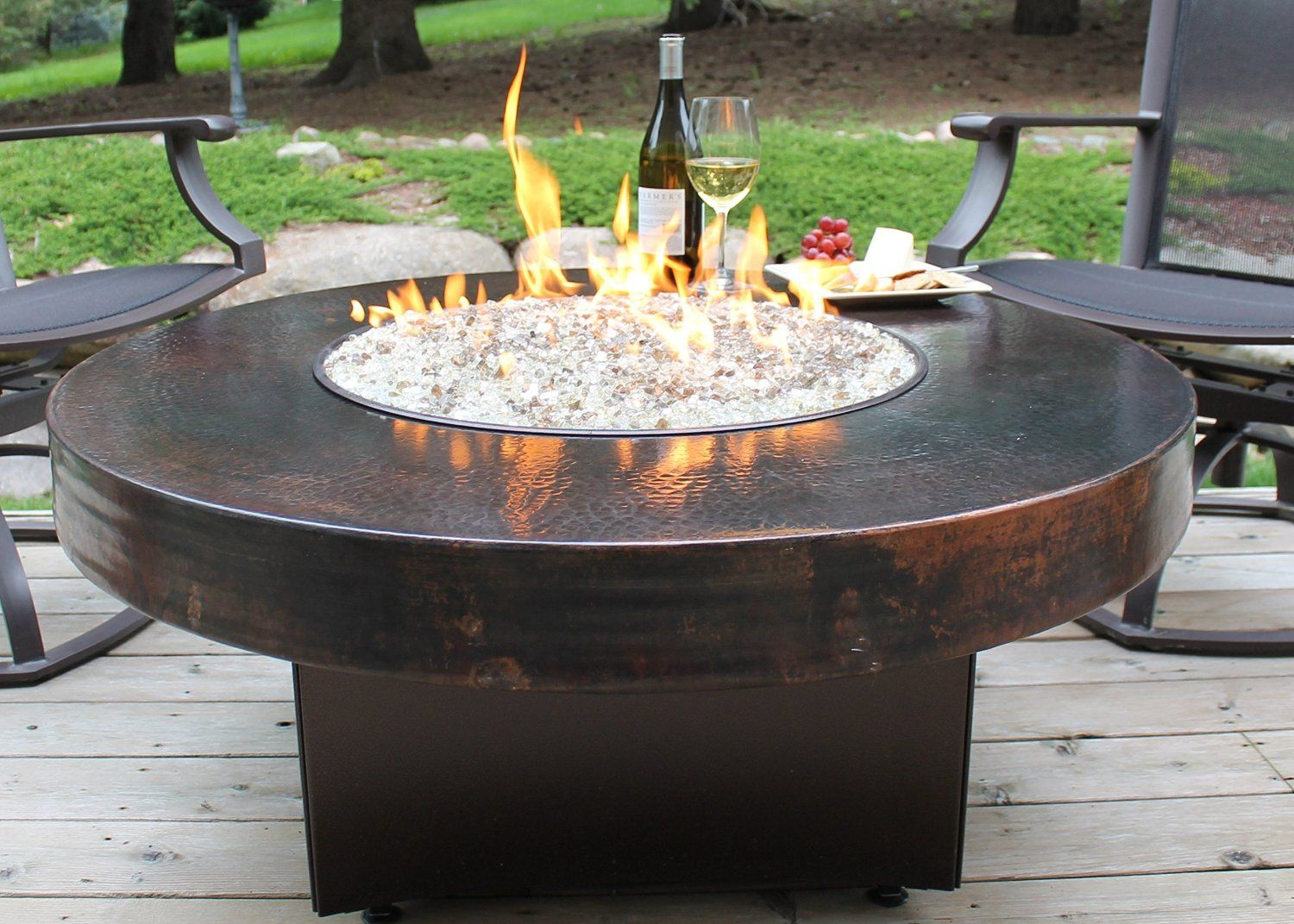 Hammered Copper 42 Round Oriflamme Fire Table Gas Fire Pit Table 19 In Height Standard Coffee Table Height Glass Fire Pit Fire Pit Glass Rocks Fire Pit Kit