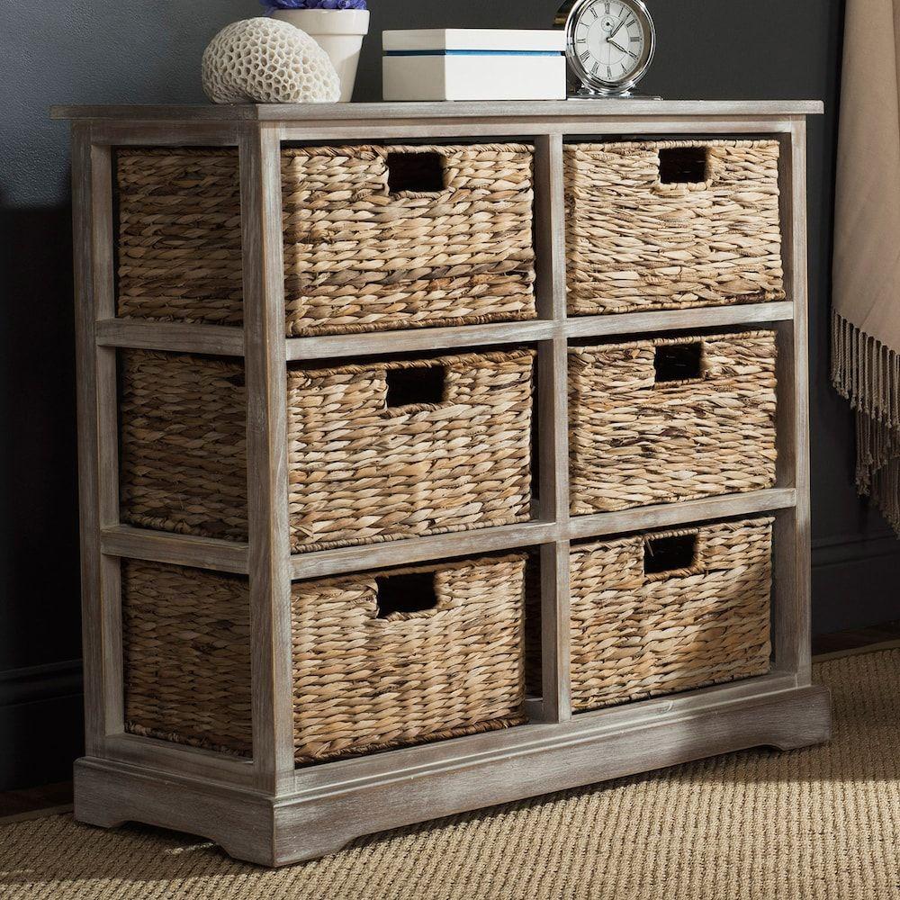 Safavieh Keenan Wicker Basket Storage Cabinet White Wicker