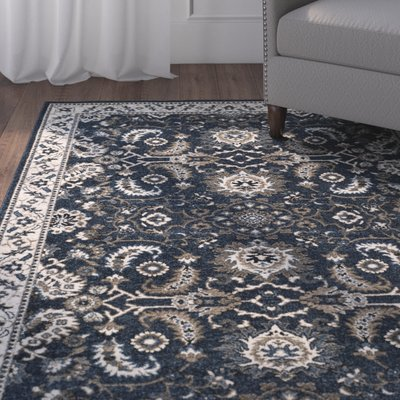 Charlton Home Arthur Dark Blue Gray Area Rug Rug Size Rectangle 8 X 10 Area Rugs Living Room Area Rugs Rugs