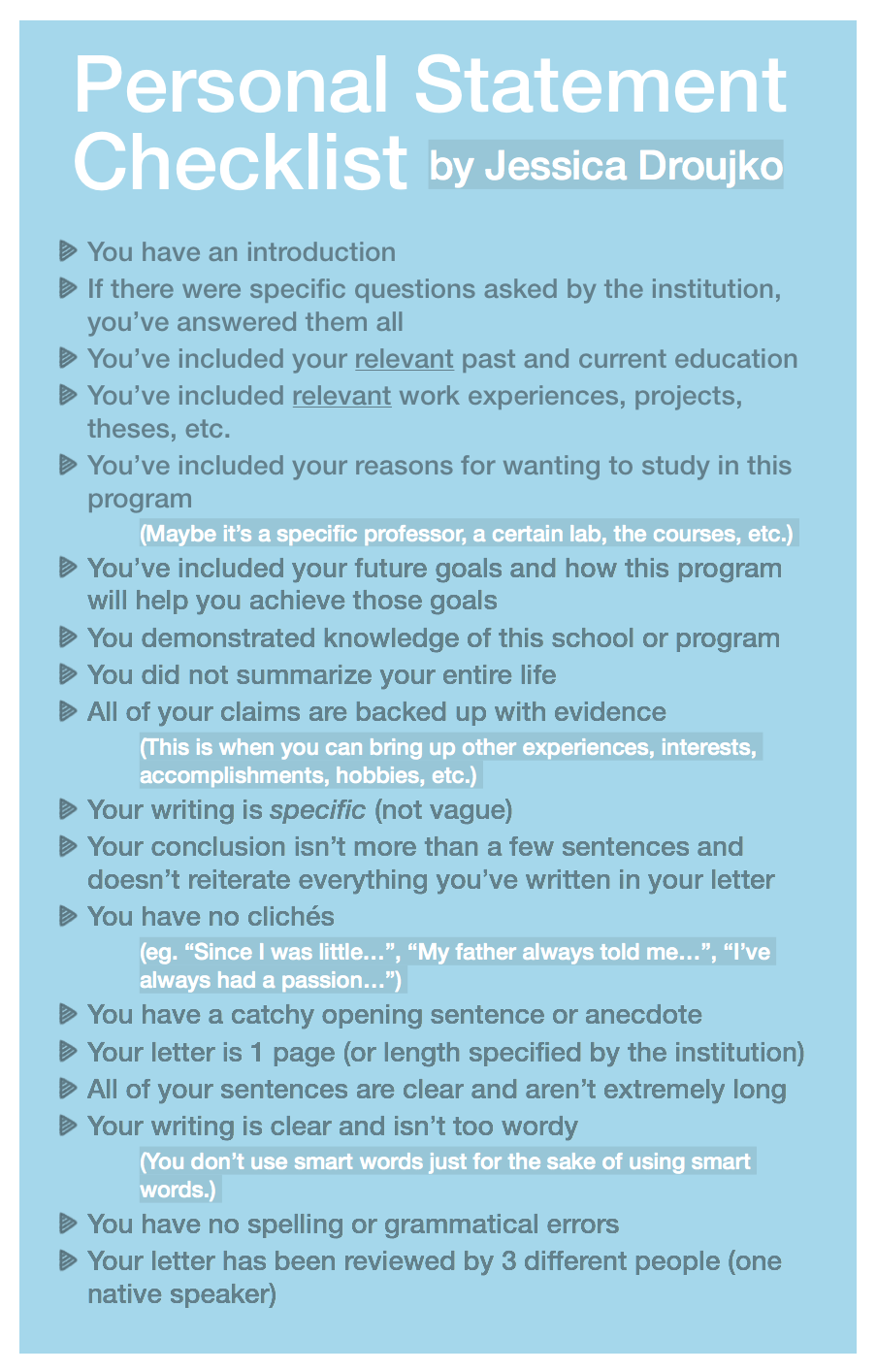 Free Personal Statement Checklist Grad School Examples Steps Step