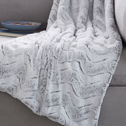 West Elm Throw Blanket Endearing Faux Fur Chevron Throw  Bedrooms Living Rooms And Room Review