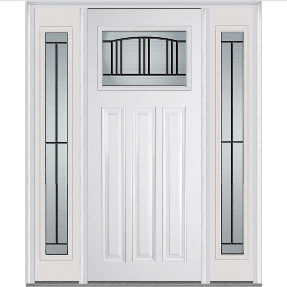 Mmi Door 60 In X 80 In Madison Right Hand Inswing 1 4 Lite Decorative Painted Fiberglass Smooth Prehung Front Door W Sidelites Z007106r The Home Depot Exterior Doors Prehung Doors Doors