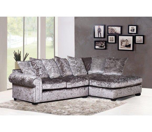 Marilyn Crushed Velvet Corner Sofa Silver H O M E