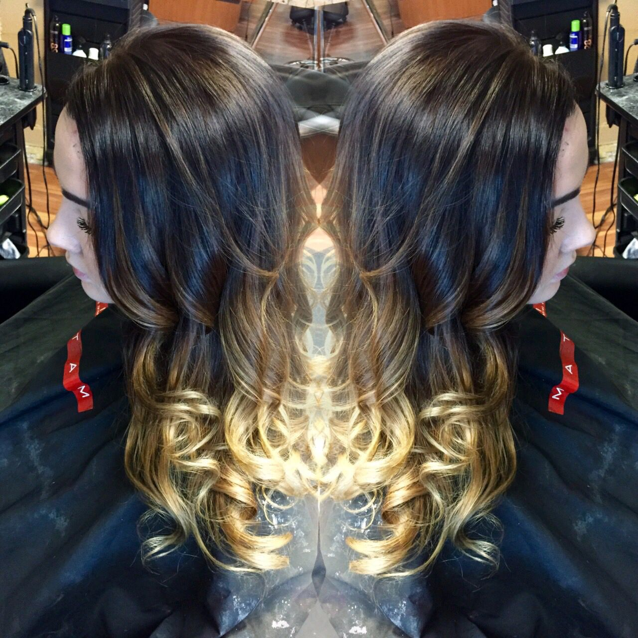 Brown to blonde balayage ombre.