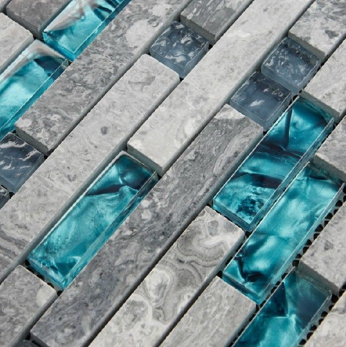 I need rhos for the bathroom so freakin cute tiles grey stone marble mosaic teal glass - Forever tile and stone ...