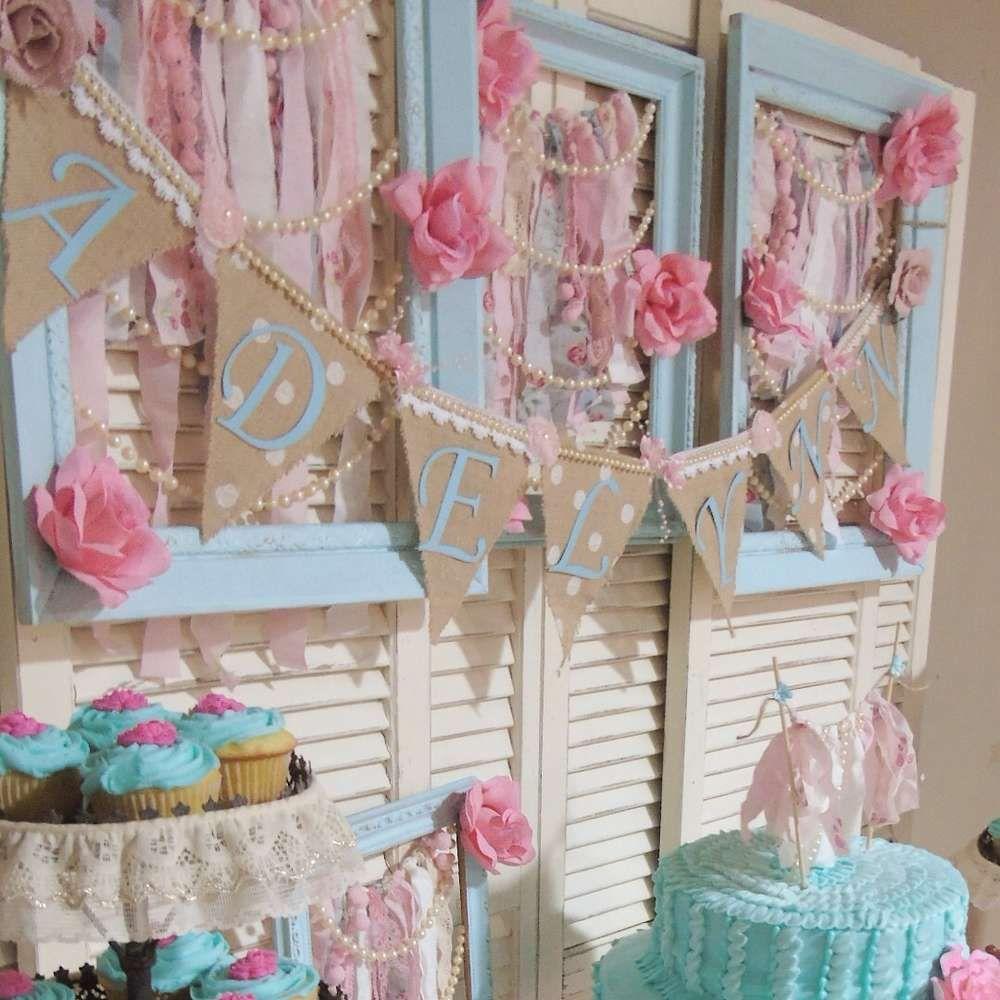 28b7543ba2bec Shabby Chic | CatchMyParty.com | Girl shower | Shabby chic baby ...