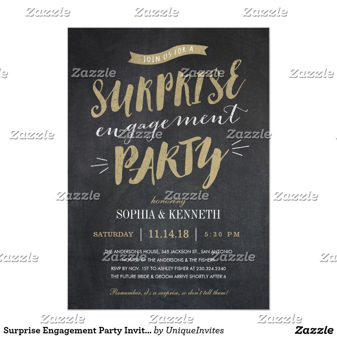Surprise Engagement Party Invitations - Chalkboard | Engagement ...