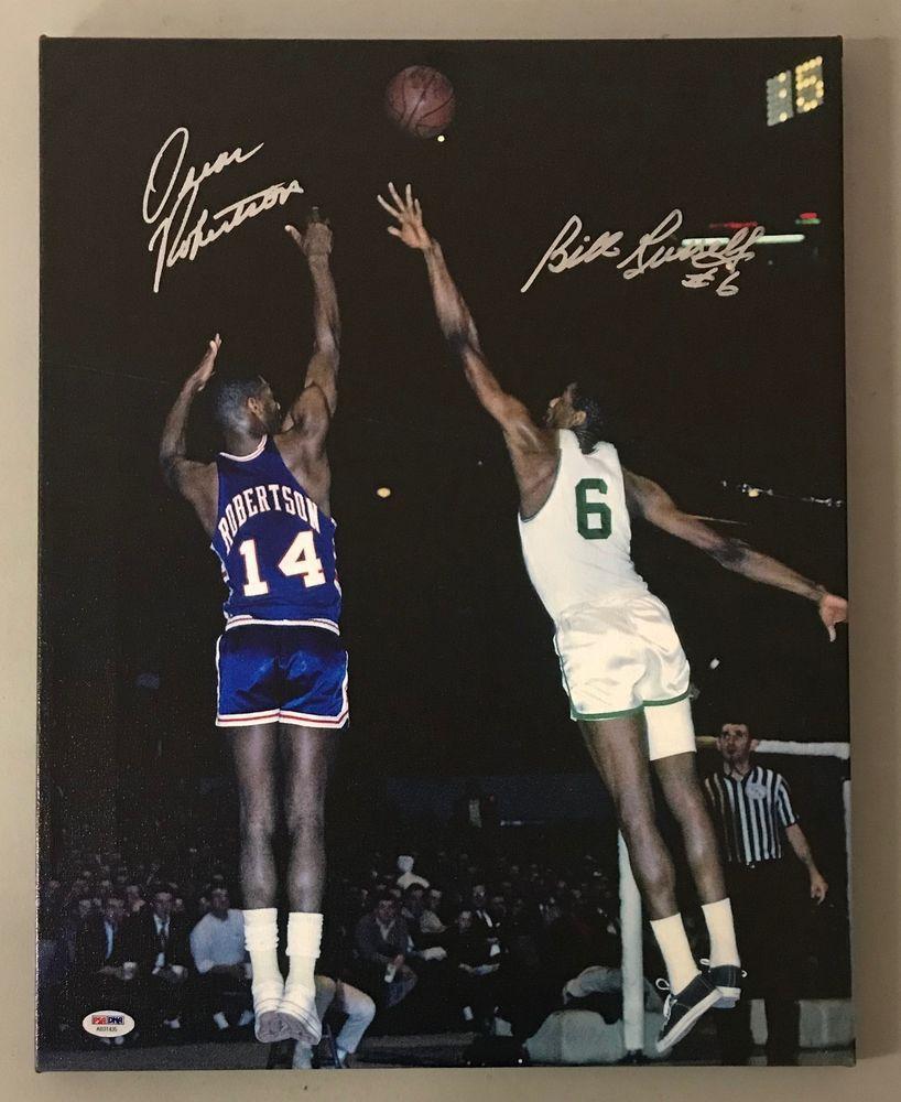 Bill Russell   Oscar Robertson Signed 16x20 Canvas Photo PSA DNA Sticker  ONLY  Basketball f50d93dde