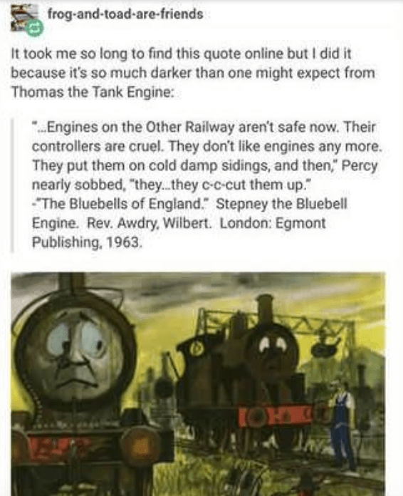 Troubled Tumblr Thread Calls Out Thomas The Tank Engine S Dark