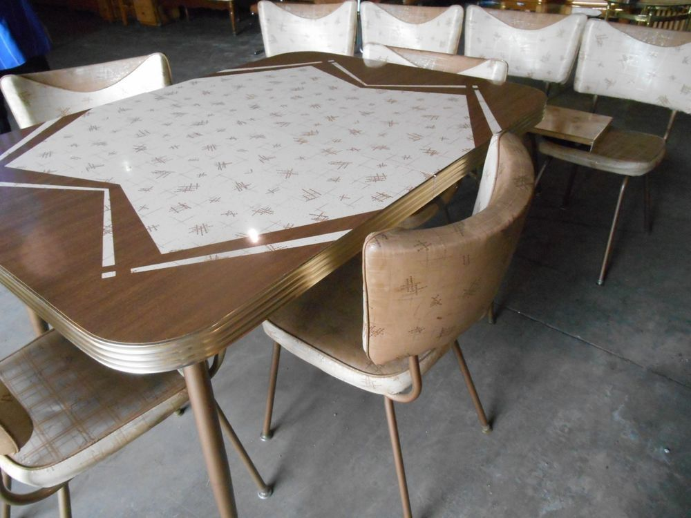 1950's Retro Mid Century Kitchen Table 8 chairs 2 leaves ...