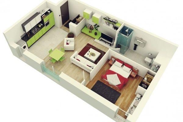 50 plans en 3d d appartement avec 1 chambres plan. Black Bedroom Furniture Sets. Home Design Ideas
