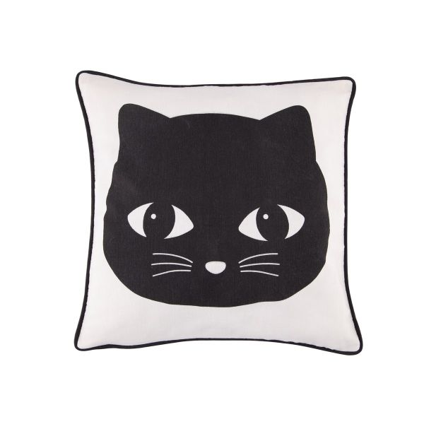 Sass & Belle Square Applique Cat Cotton Cushion Black | Soft Furnishings