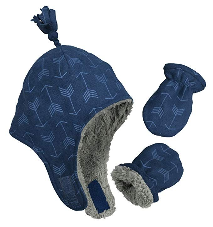 N Ice Caps Little Boys and Baby Sherpa Lined Micro Fleece Pilot Hat Mitten  Set Review 0916536f33d0