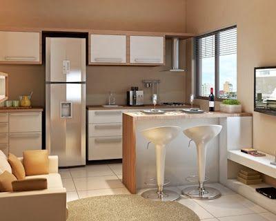 Blog Casa Moderna Apartamento pequeno sala e cozinha num só