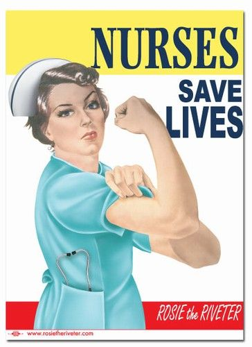 "Rosie the Riveter - Nurses Save Lives"" Rosie the Riveter 11"" x 15"" Poster (PR15708) : Merchandise & Gifts of World War II, Rosies, Women's History, and Unions"