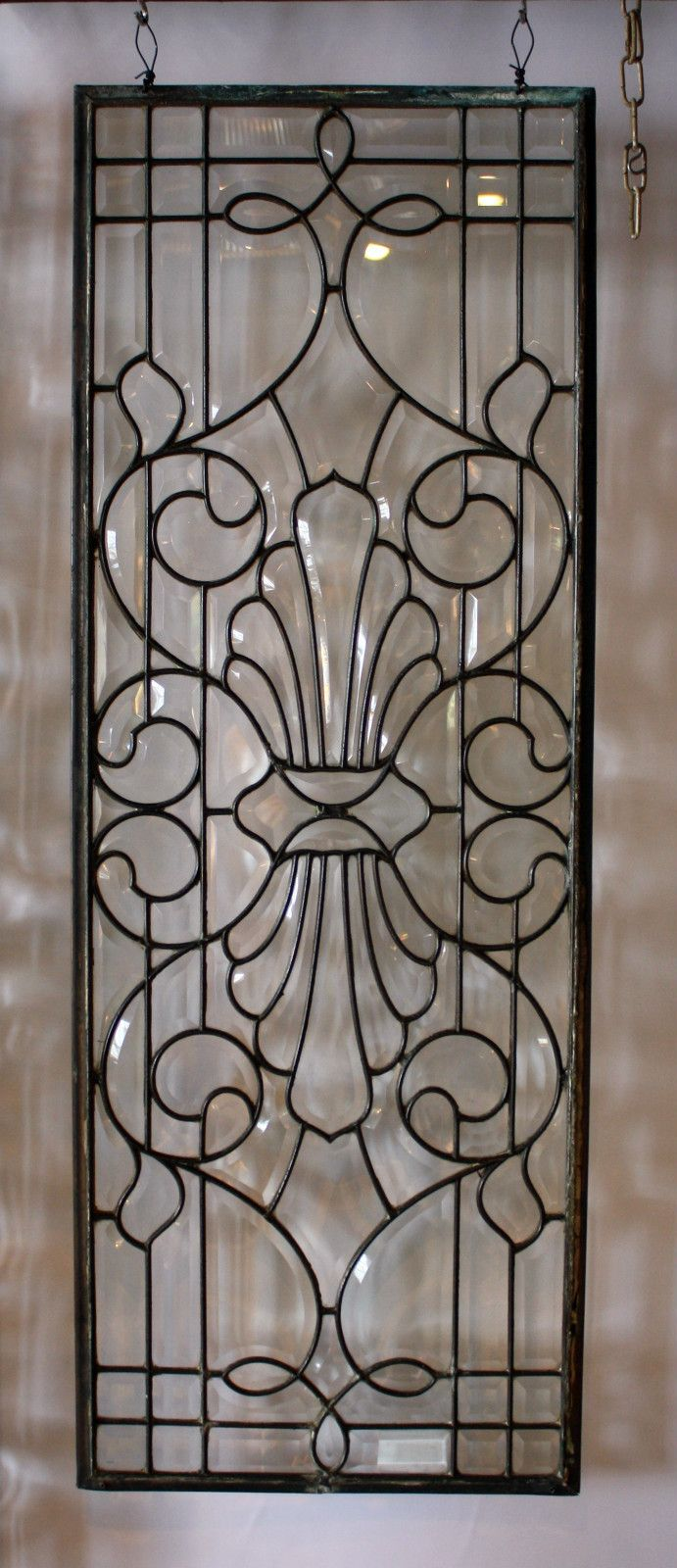Antique Vintage Victorian Bevelled Leaded Glass Window 45