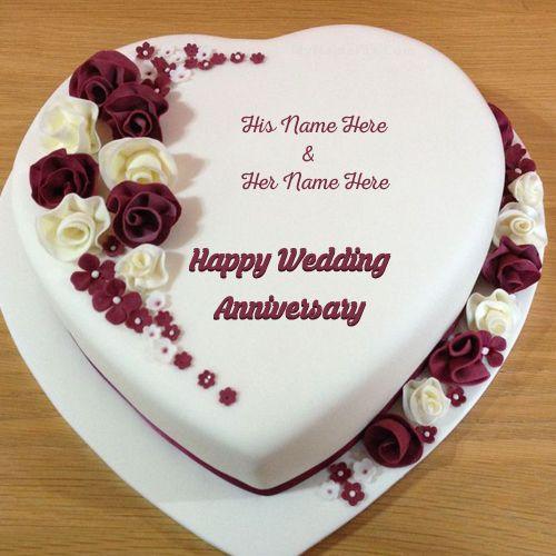 Wife And Husband Name On Heart Shape Anniversary Cake Photo With