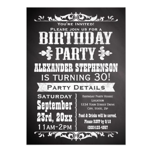 Custom Vintage Slate Chalkboard Birthday Party Custom Announcements