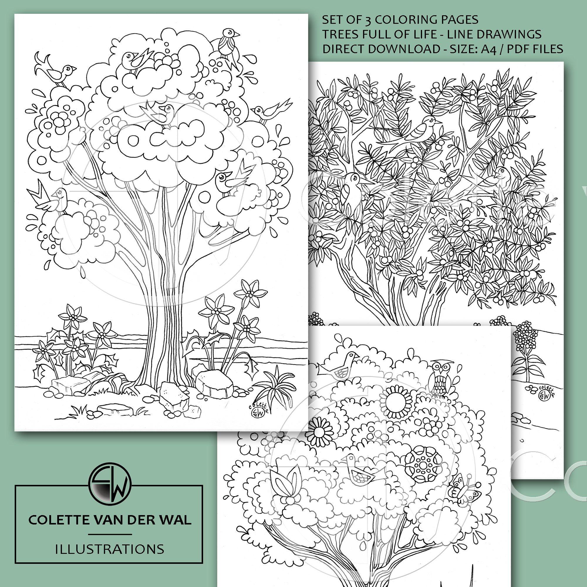 Vrolijke Bomen Kleurplaten Set Van 3 Verschillende Etsy Kleurplaten Kleurboek Handgetekend