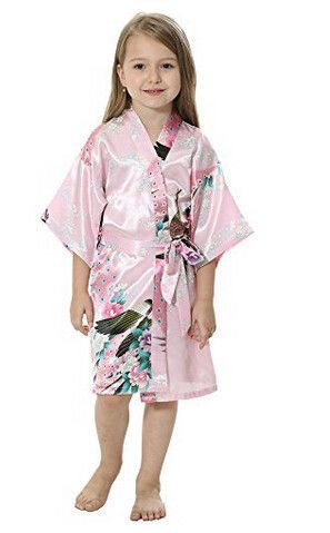df73db9725 RB009 Peacock Kids Robe Satin Children Kimono Robes Bridesmaid Flower Girl  Dress Silk children s bathrobe Nightgown Kimono robe