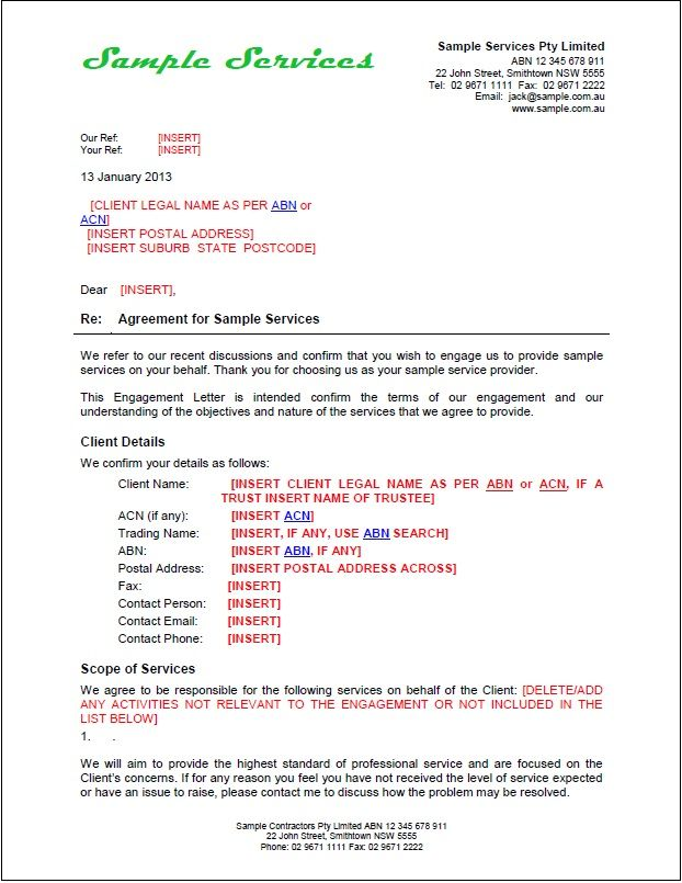 provides specific instructions how prepare engagement letters - business service agreement template