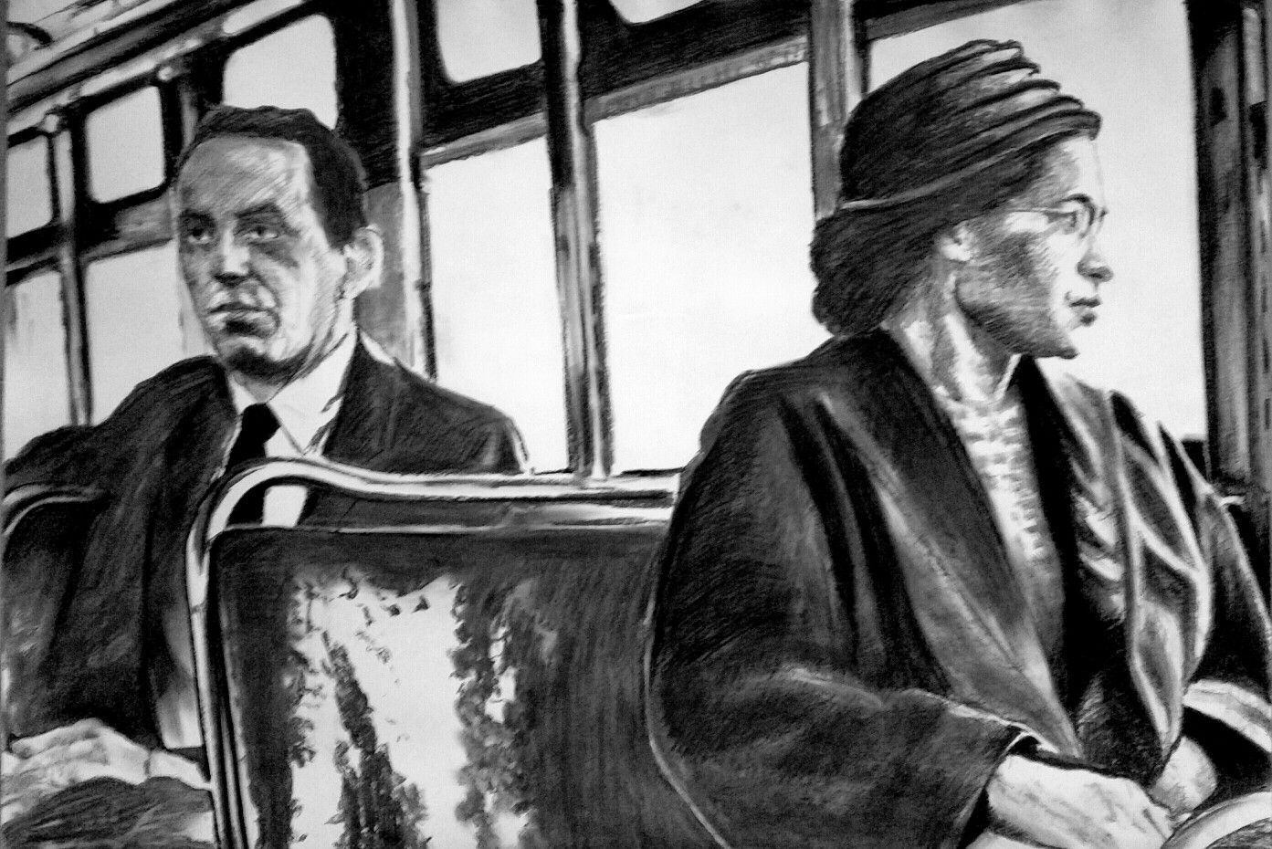 Rosa Parks Bus Charcoal Drawing By Richard Hanssens 110x85cm