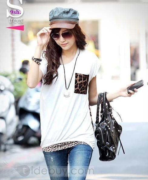 セレブ韓国スタイル豹柄ポケットTシャツ