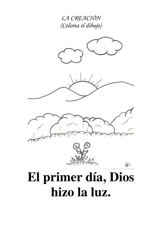 LA CREACIÓN (Colorea el dibujo)El primer día, Dios hizo la luz. | j ...