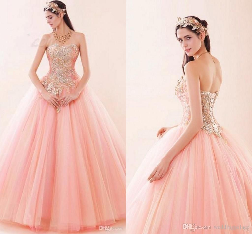 Pink sexy sweetheart quinceanera dresses lace up tulle luxury bling