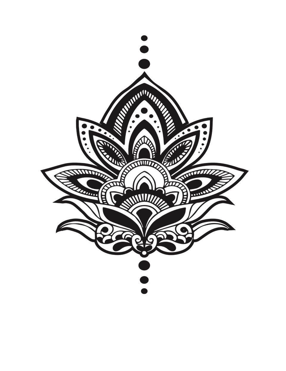 Henna Lotus Temporary Tattoo Set Of 2 Yoga Gift Meditation