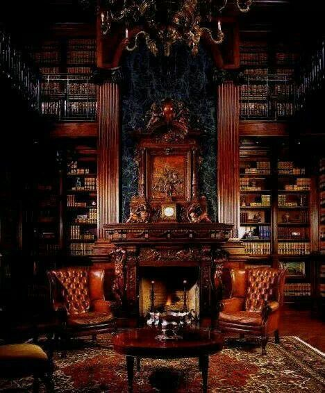 Gorgeous Wing Back Chairs Can Imagine Becoming Completely Lost In A Good Book I Front Of This Roaring Fire Home Library Fireplace Design Home Libraries