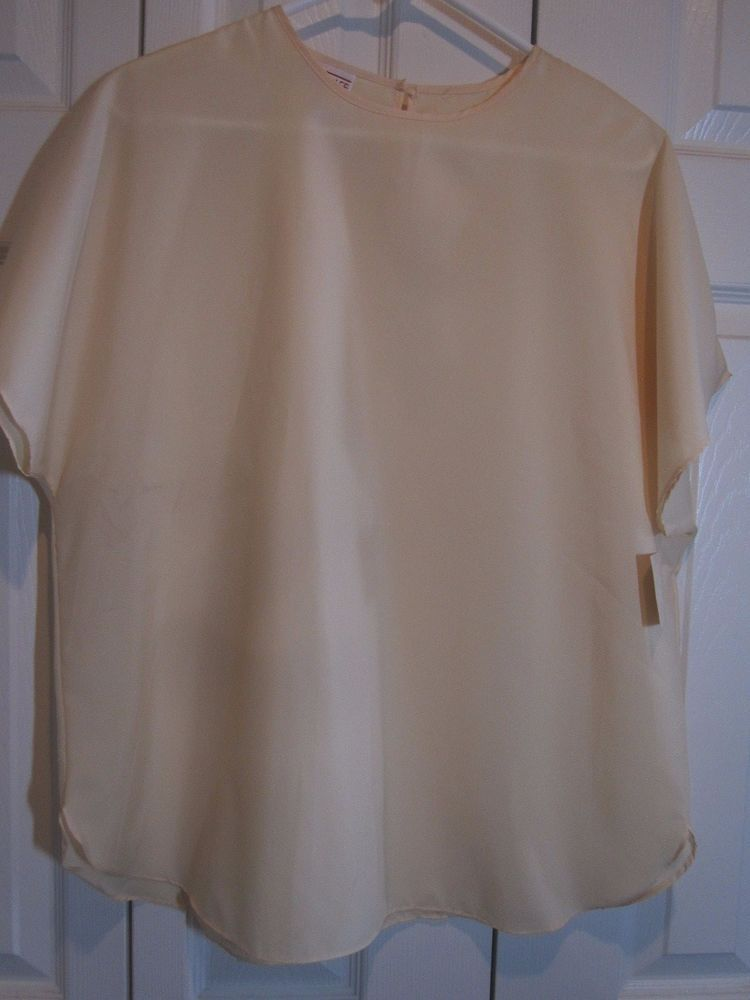LAUREN LEE pullover pale yellow cap sleeve suit blouse NWT Size L #LAURENLEE #Blouse #Career