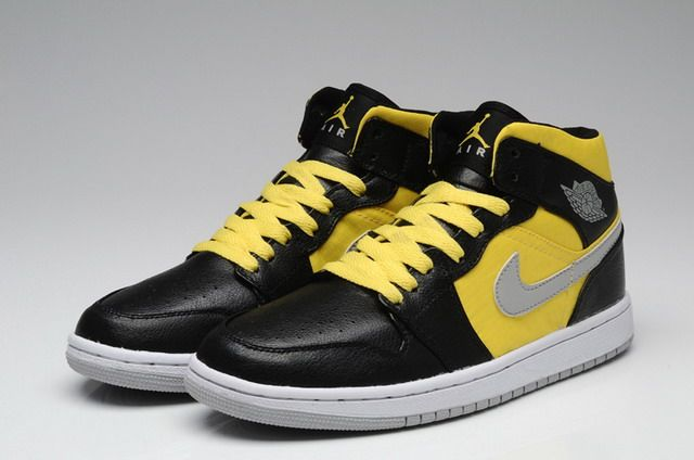 Nike Air Jordan 1 Phat Mens Shoes Black   Stealth   Sport Yellow   White  http   www.nikerun.net  89fcae55f