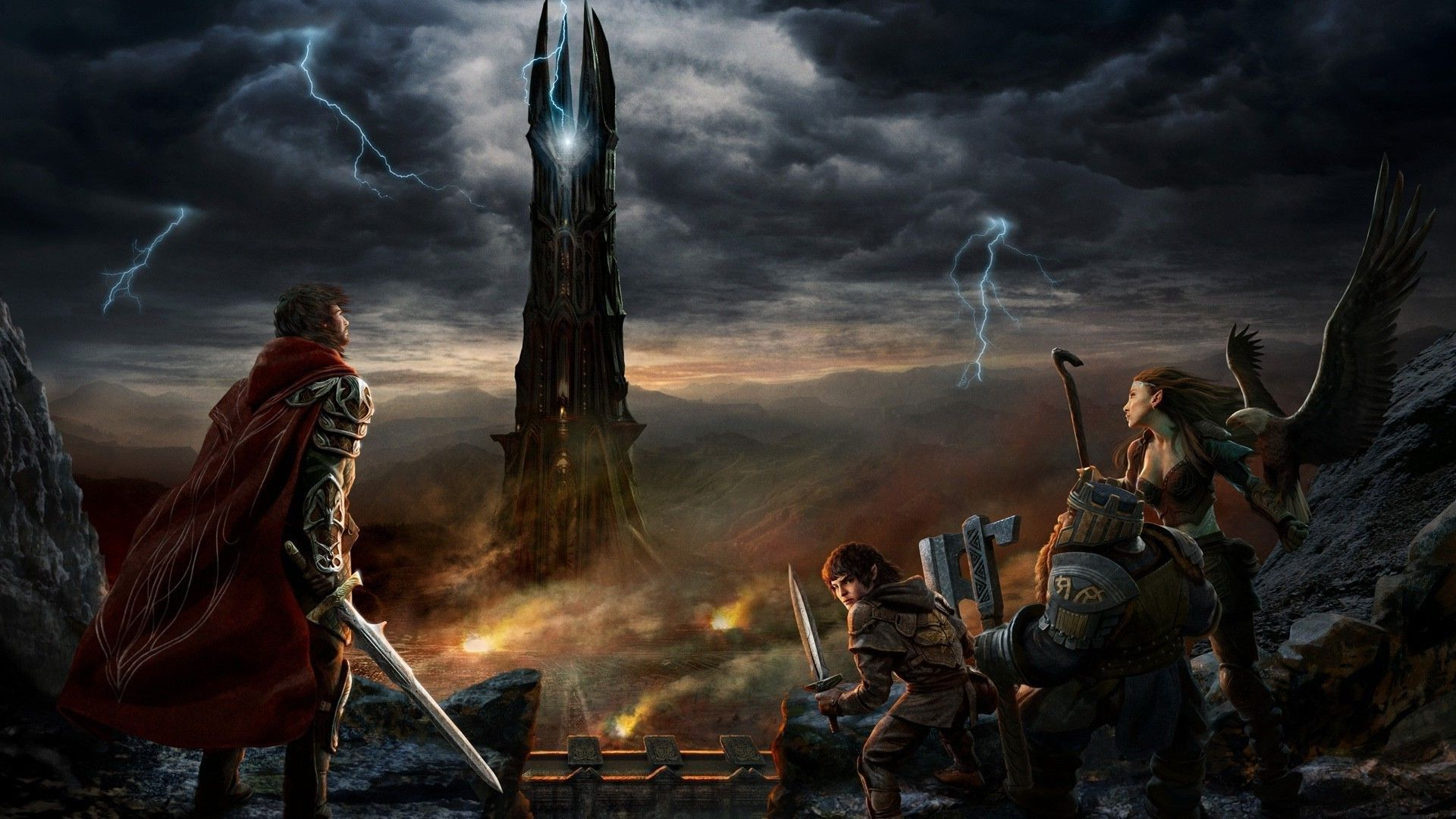 The Lord Of The Rings Movie Hd Wallpaper 1920x1080 Lord Of The Rings Shadow Of Mordor Fantasy Art