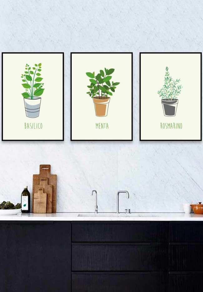Ervas e temperos em quadrinhos cozinhas
