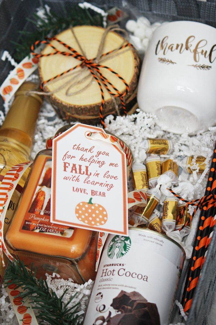 Diy fall gift basket hello honey thanksgiving teacher