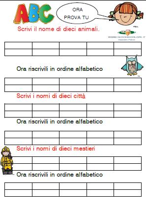 Giochi E Colori L Ordine Alfabetico Schede Didattiche Classe Seconda Scuola Primaria Samu Haber