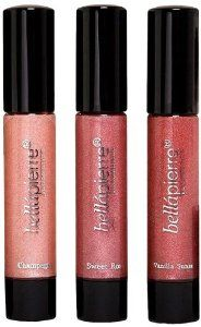 Bella Pierre Lip Gloss Trio, 0.4-Fluid Ounce by Bella Pierre. $12.99. Glosses leave lips soft & supple all day long.^3 fabulous shades to enhance any look or complexion^Champagne ? pink beige^Sweet rose ? rosy plum^Vanilla sunset ? golden red. Bellapierre offers 3 compact lip glosses in one handy set.  Glosses are made with all natural ingredients and enriched with Vitamin E, Jojoba, Honeysuckle, Avocado and sunflower waxes and extracts to give lips rich color and shine.