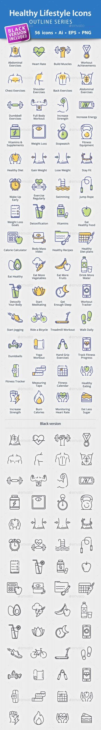Healthy Lifestyle Icons  Outline Series — Vector EPS #fitness icons #healthy l...